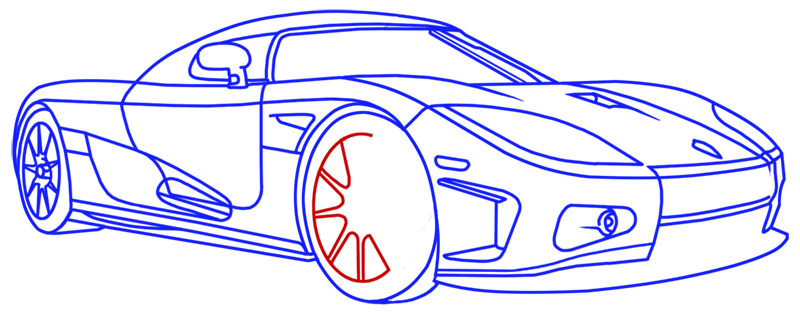 Learn easy to draw Koenigsegg CC8S step 18