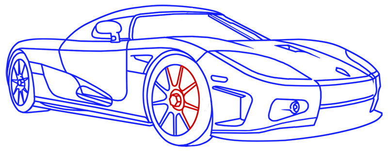 Learn easy to draw Koenigsegg CC8S step 19