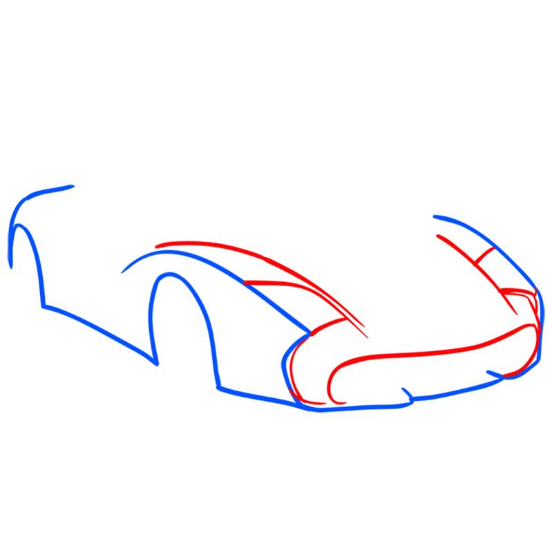 Learn easy to draw Lamborghini 5 95 Zagato step 03