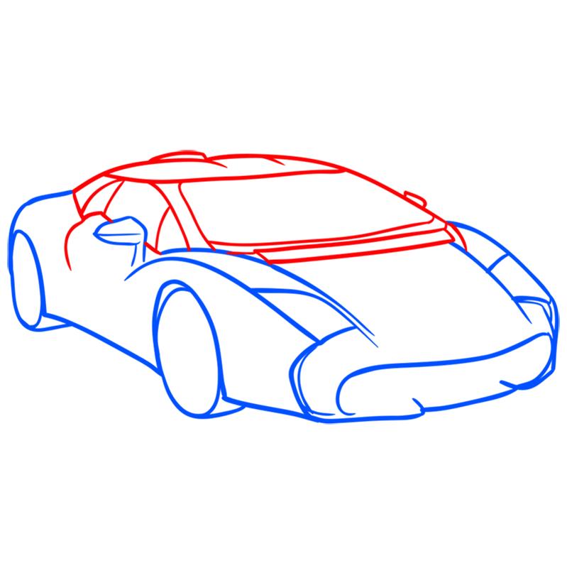Learn easy to draw Lamborghini 5 95 Zagato step 05