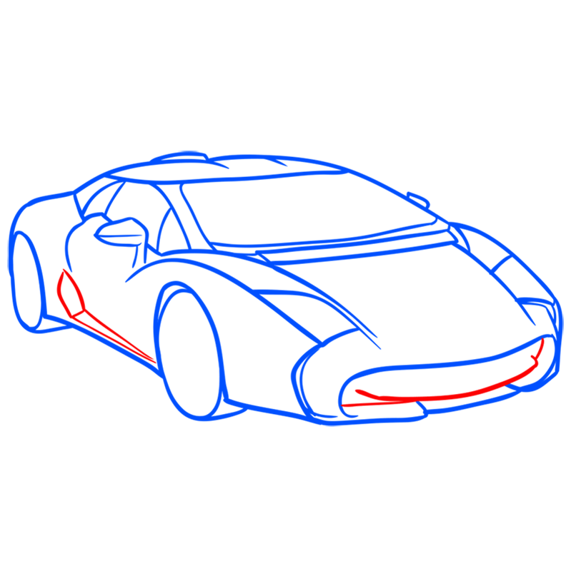 Learn easy to draw Lamborghini 5 95 Zagato step 06