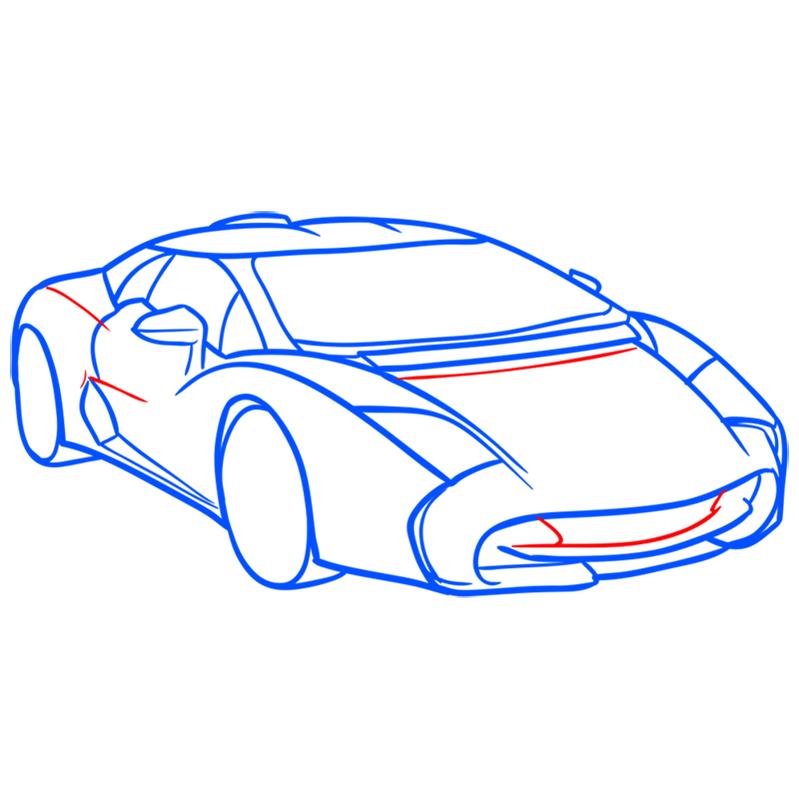 Learn easy to draw Lamborghini 5 95 Zagato step 07