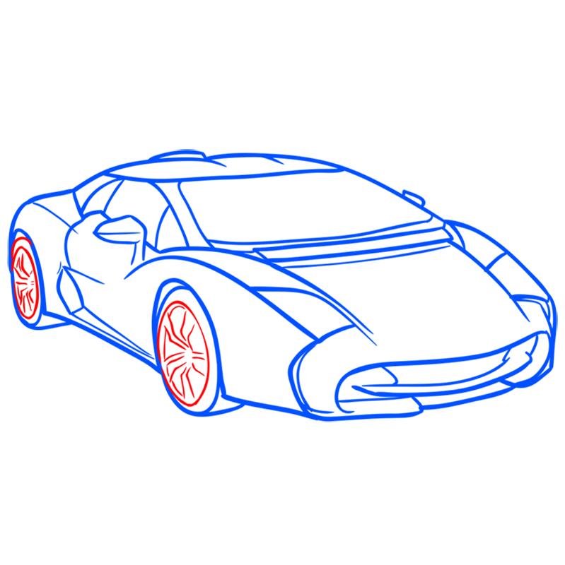 Learn easy to draw Lamborghini 5 95 Zagato step 08