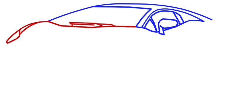 Learn easy to draw Lamborghini Aventador step 03
