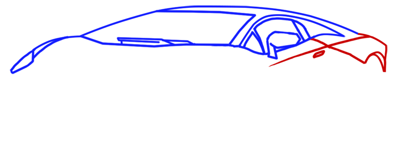 Learn easy to draw Lamborghini Aventador step 04