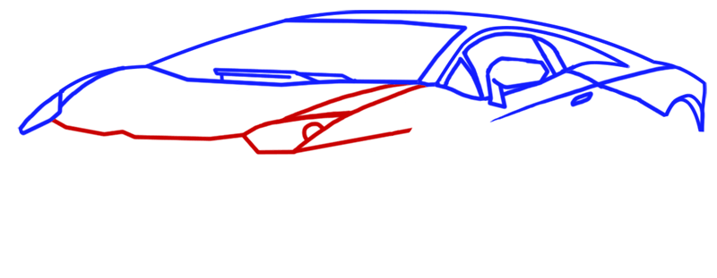 Learn easy to draw Lamborghini Aventador step 05