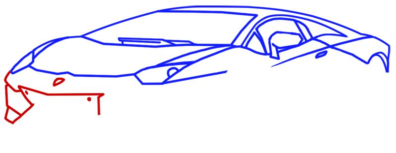 Learn easy to draw Lamborghini Aventador step 06