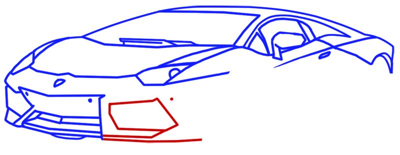 Learn easy to draw Lamborghini Aventador step 08