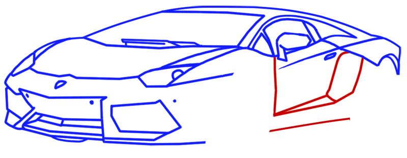 Learn easy to draw Lamborghini Aventador step 09