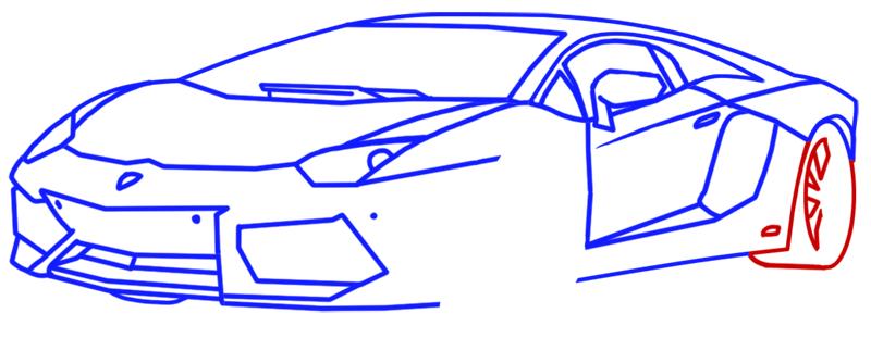 Learn easy to draw Lamborghini Aventador step 10