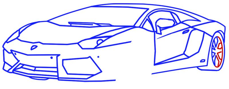 Learn easy to draw Lamborghini Aventador step 11