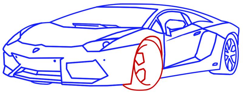 Learn easy to draw Lamborghini Aventador step 12
