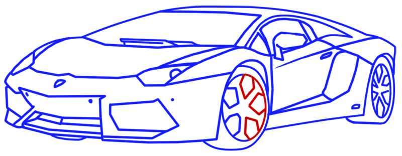 Learn easy to draw Lamborghini Aventador step 13