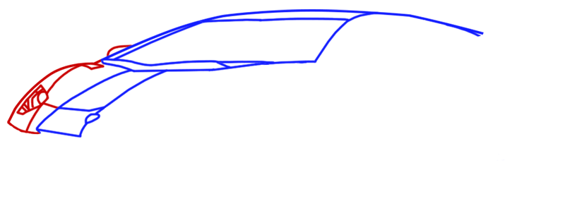Learn easy to draw Lamborghini Diablo step 04