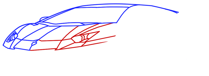 Learn easy to draw Lamborghini Diablo step 05