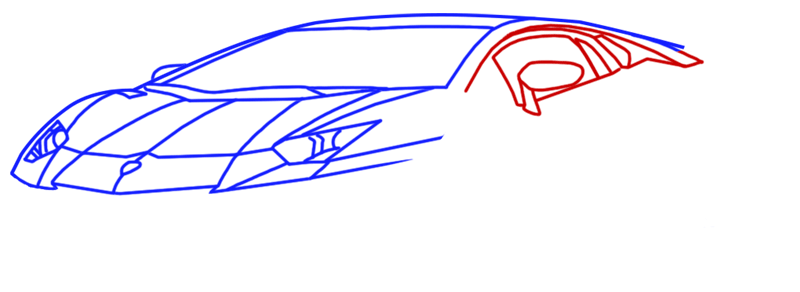 Learn easy to draw Lamborghini Diablo step 06