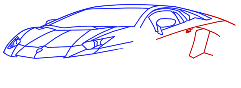 Learn easy to draw Lamborghini Diablo step 07