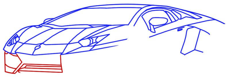 Learn easy to draw Lamborghini Diablo step 08