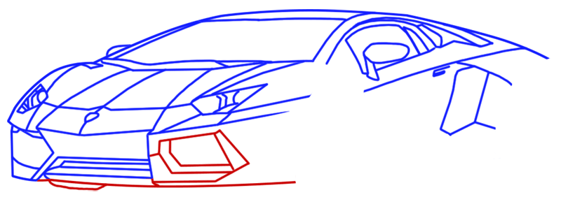 Learn easy to draw Lamborghini Diablo step 09