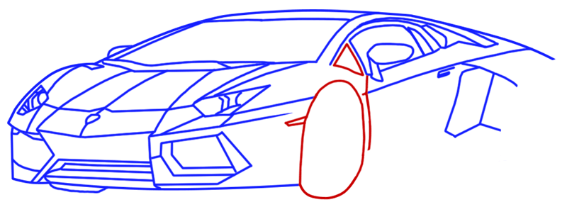 Learn easy to draw Lamborghini Diablo step 10