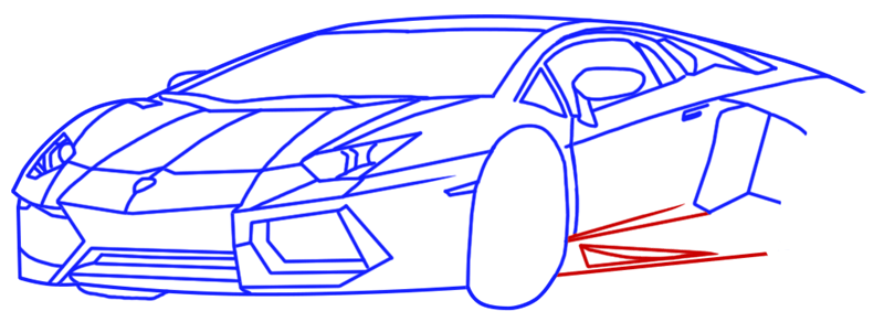 Learn easy to draw Lamborghini Diablo step 11
