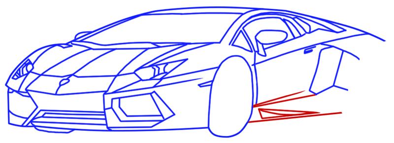 Learn easy to draw Lamborghini Diablo step 11