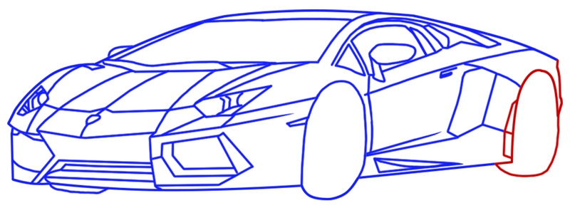 Learn easy to draw Lamborghini Diablo step 12