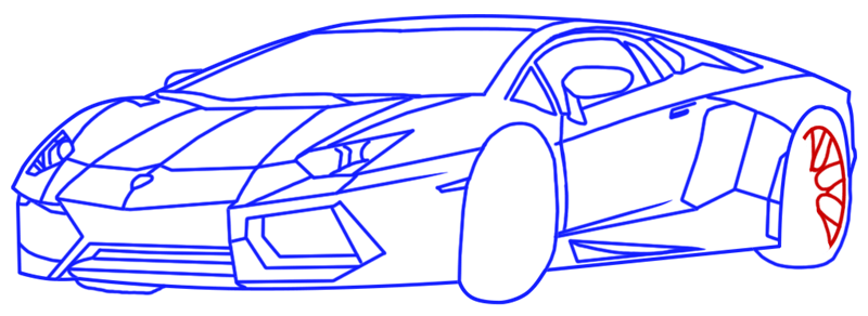 Learn easy to draw Lamborghini Diablo step 13