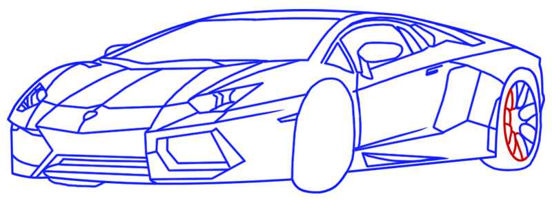 Learn easy to draw Lamborghini Diablo step 14