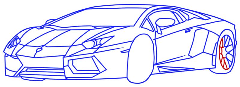 Learn easy to draw Lamborghini Diablo step 14