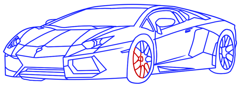 Learn easy to draw Lamborghini Diablo step 16