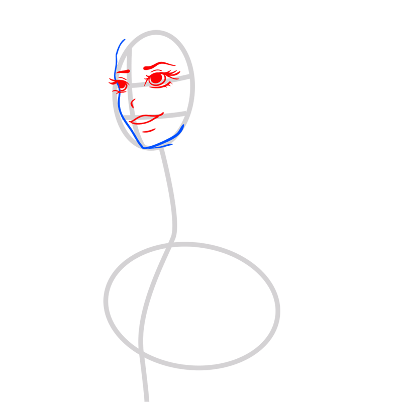 Learn easy to draw Lana Del Rei step 03