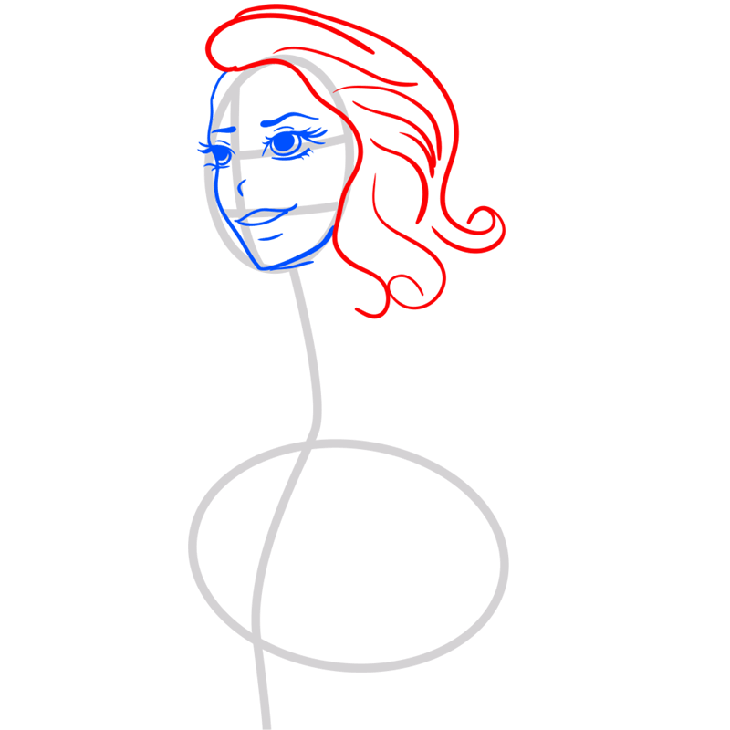 Learn easy to draw Lana Del Rei step 04