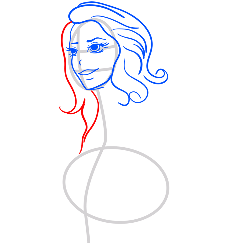 Learn easy to draw Lana Del Rei step 05