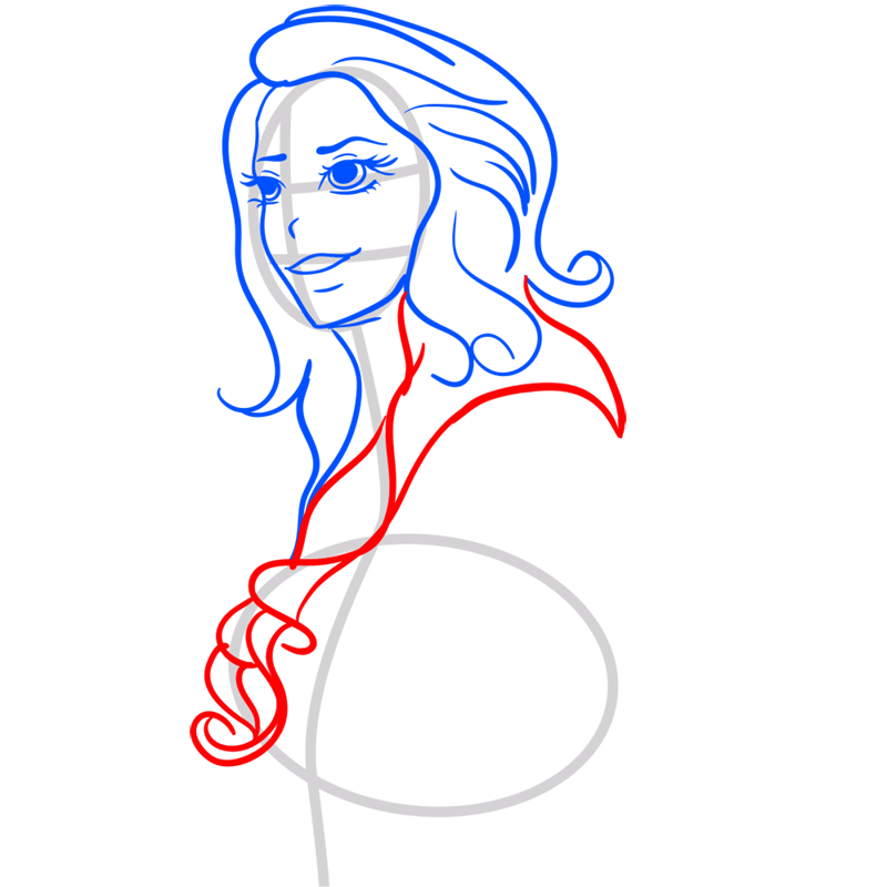 Learn easy to draw Lana Del Rei step 06