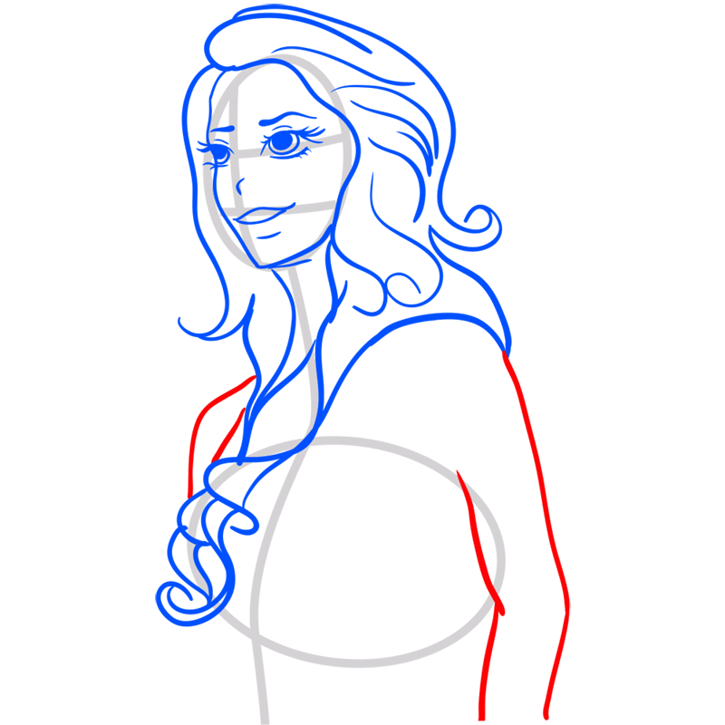 Learn easy to draw Lana Del Rei step 07