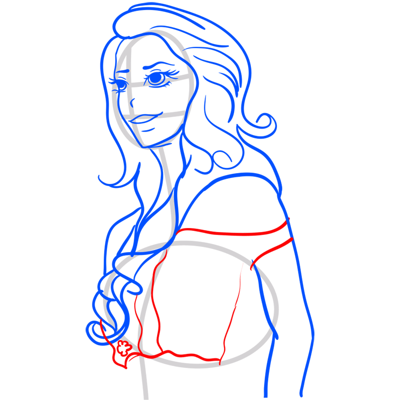 Learn easy to draw Lana Del Rei step 08