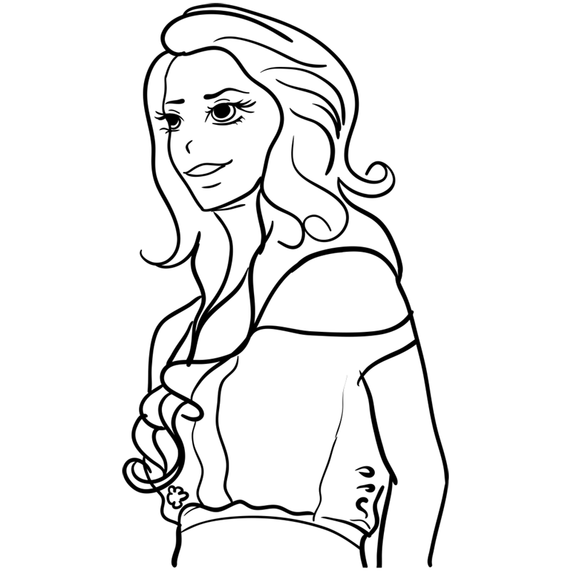 Learn easy to draw Lana Del Rei step 10