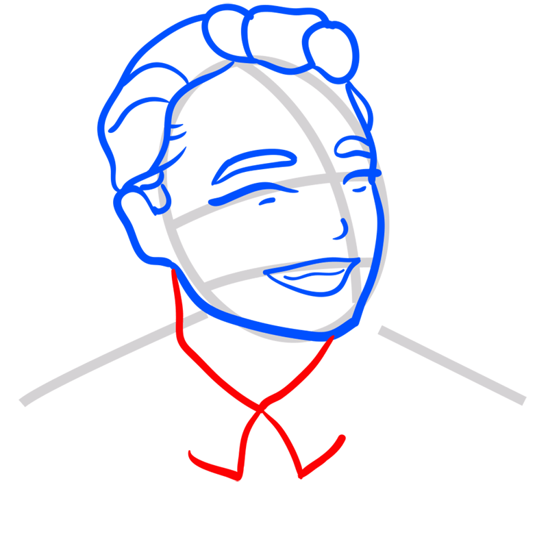 Learn easy to draw Leonardo DiCaprio step 06