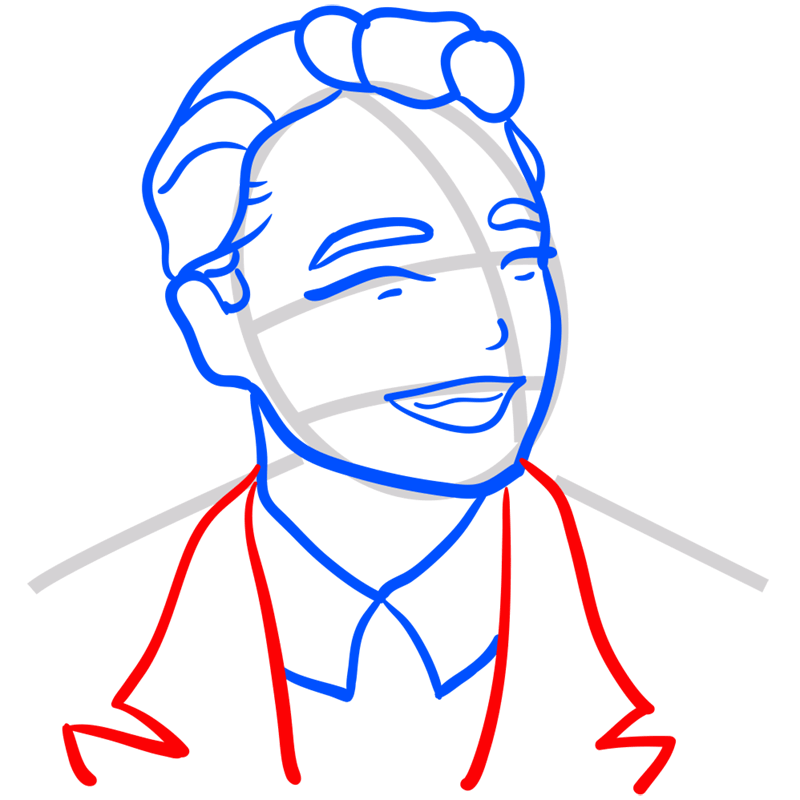 Learn easy to draw Leonardo DiCaprio step 07