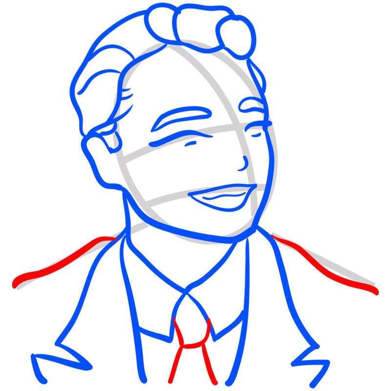 Learn easy to draw Leonardo DiCaprio step 08