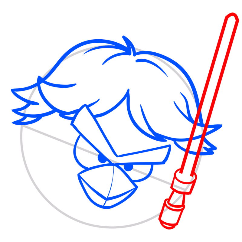 Learn easy to draw Luke Skywalker step 06