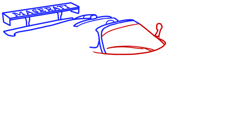Learn easy to draw Maserati MC12 step 05