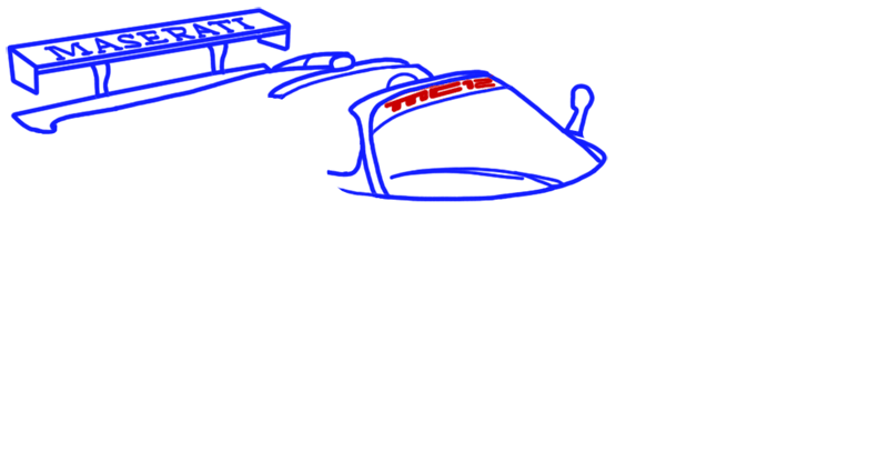 Learn easy to draw Maserati MC12 step 06