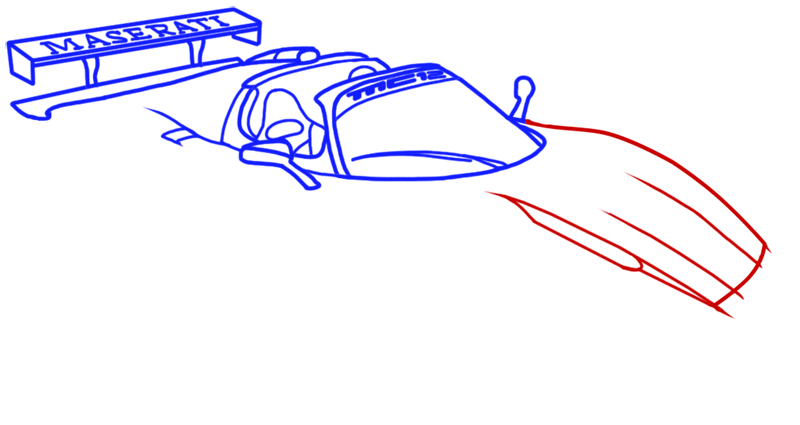 Learn easy to draw Maserati MC12 step 08