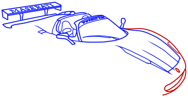 Learn easy to draw Maserati MC12 step 09