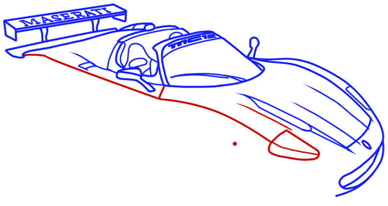 Learn easy to draw Maserati MC12 step 10