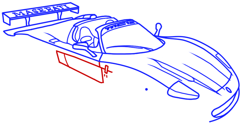 Learn easy to draw Maserati MC12 step 11