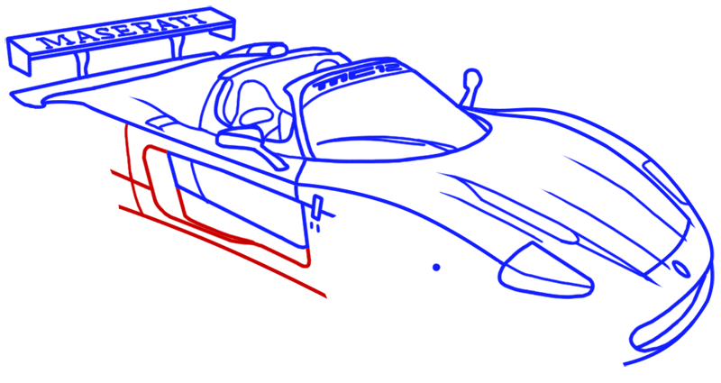Learn easy to draw Maserati MC12 step 12