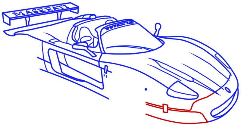 Learn easy to draw Maserati MC12 step 13